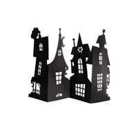 Paper Haunted House Halloween Centerpiece Decoration, Black, 24 x 15in