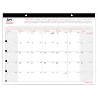"Office Depot® Monthly Academic Desk Calendar, 22"" x 17"", 30% Recycled, July 2020 to June 2021"