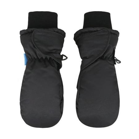 Back Mittens - Girl's 3M Thinsulate Waterproof Winter Sports Snow Ski Mittens, Black, Age4-6