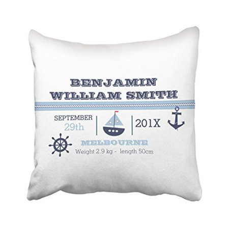WinHome Square Throw Pillow Covers Retro Vintage Nautical Birth Announcement Customizable Pillowcases Polyester 18 X 18 Inch With Hidden Zipper Home Sofa Cushion Decorative - Retro Birth Announcements
