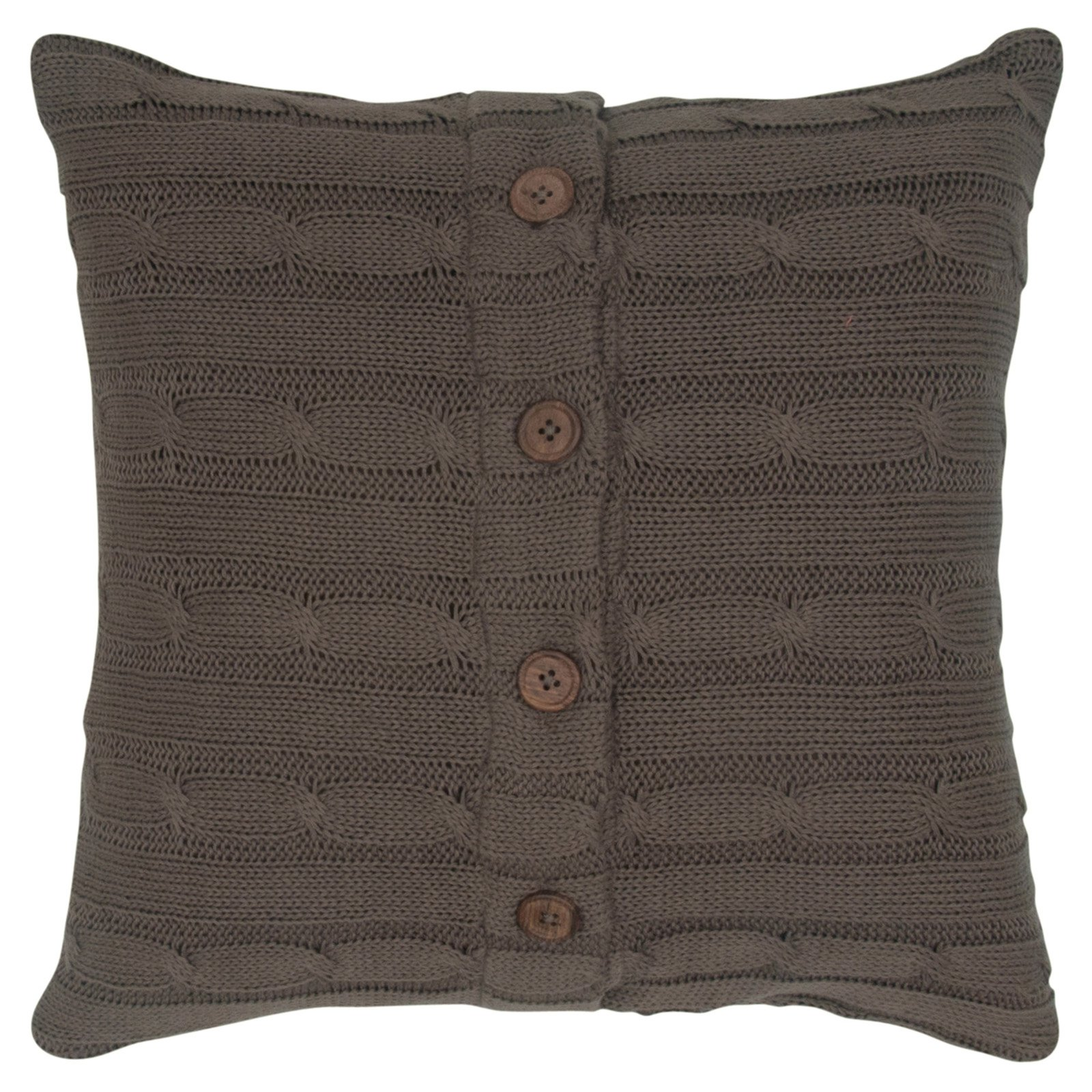 "Rizzy Home Cable Knit Buttoned Back Cotton Decorative Throw Pillow, 18"" x 18"", Mocha"