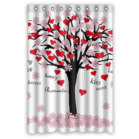 YKCG Spring Tree Of Love Pink Red Valentines Day Shower Curtain Waterproof Fabric Bathroom 48x72 Inches