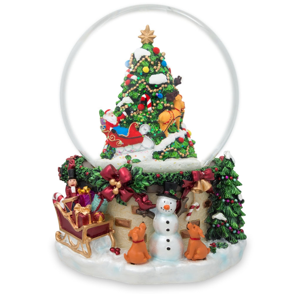 "6.5"" Snowman with Dogs Watching Santa Claus with Reindeer left the Christmas Gifts Musical Snow Globe"