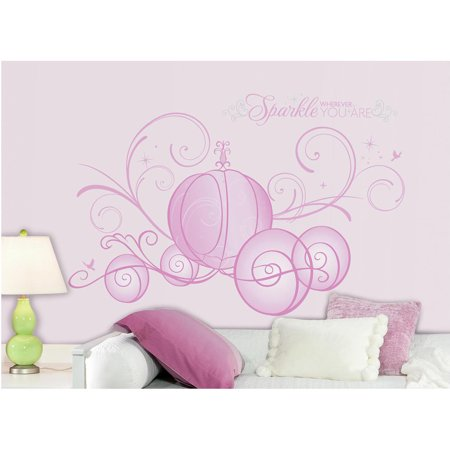Disney princess scroll carriage peel and stick giant wall for Peel and stick wallpaper walmart