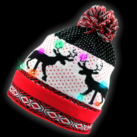 Unisex Led Light Up Christmas Reindeer Knit  Hat with Pom ()