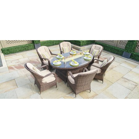 Oval Brown 7 Piece Outdoor Patio Furniture Set Dining Set Gas Fire Pit Table Garden Rattan Wicker Sofa Conversation Set with Table Chair and Luxury Cushions Lounge Set ()