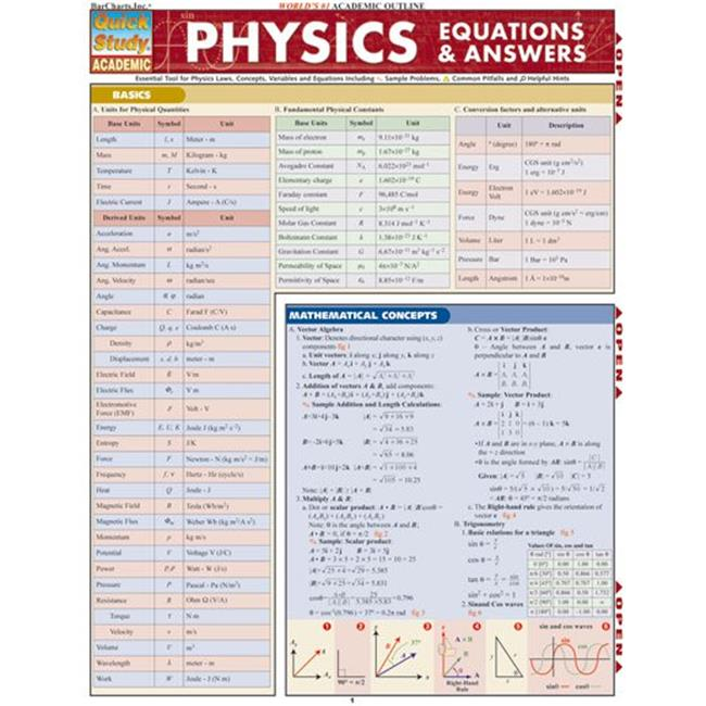 BarCharts- Inc.  9781423201908 Physics Equations & Answers