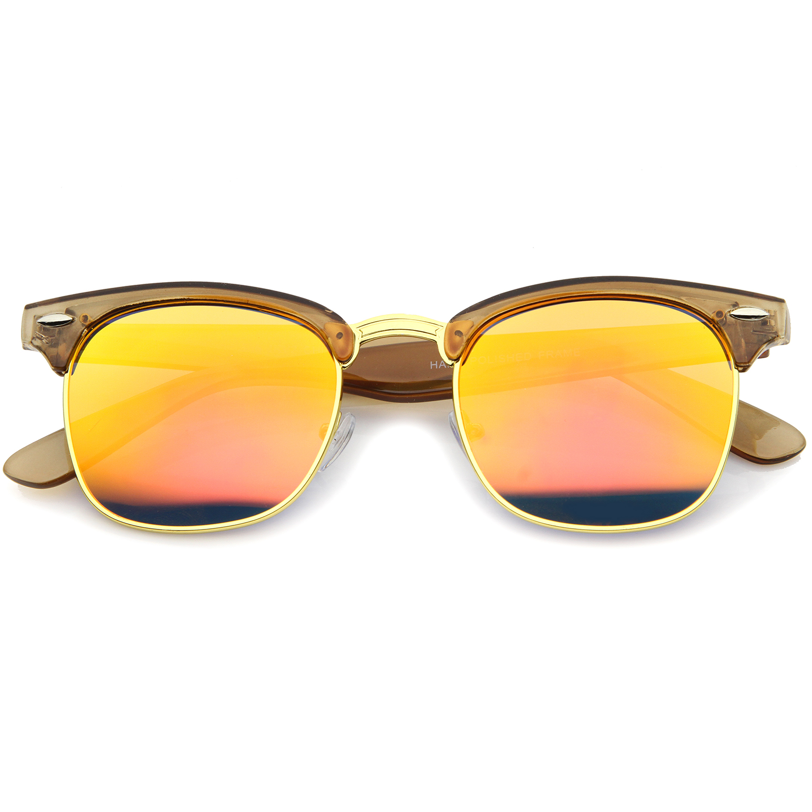 sunglassLA - Womens Horn Rimmed Sunglasses With UV400 Protected Mirrored Lens - 49mm