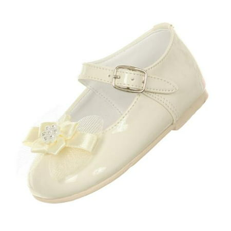 Rain Kids Girls Ivory Patent Bow Glittery Stud Dress Shoes 0-5 Baby - Ivory Dress Shoes Toddler