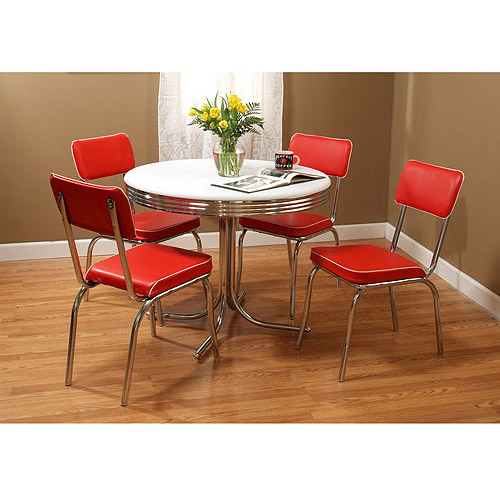 Retro 5-Piece Dining Set Bundle, Red