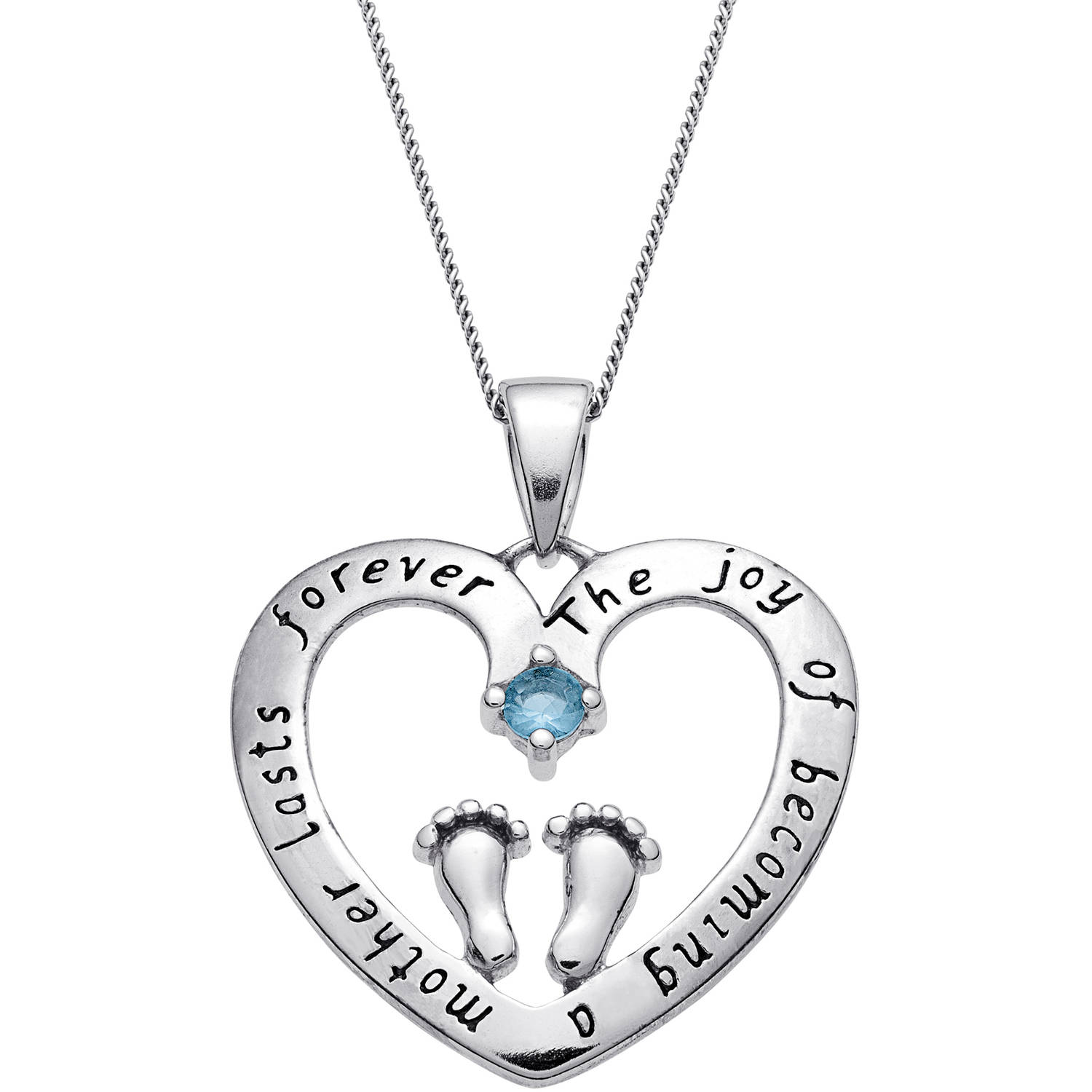 "Personalized Sterling Silver ""A Mother's Joy"" Birthstone Heart Pendant"