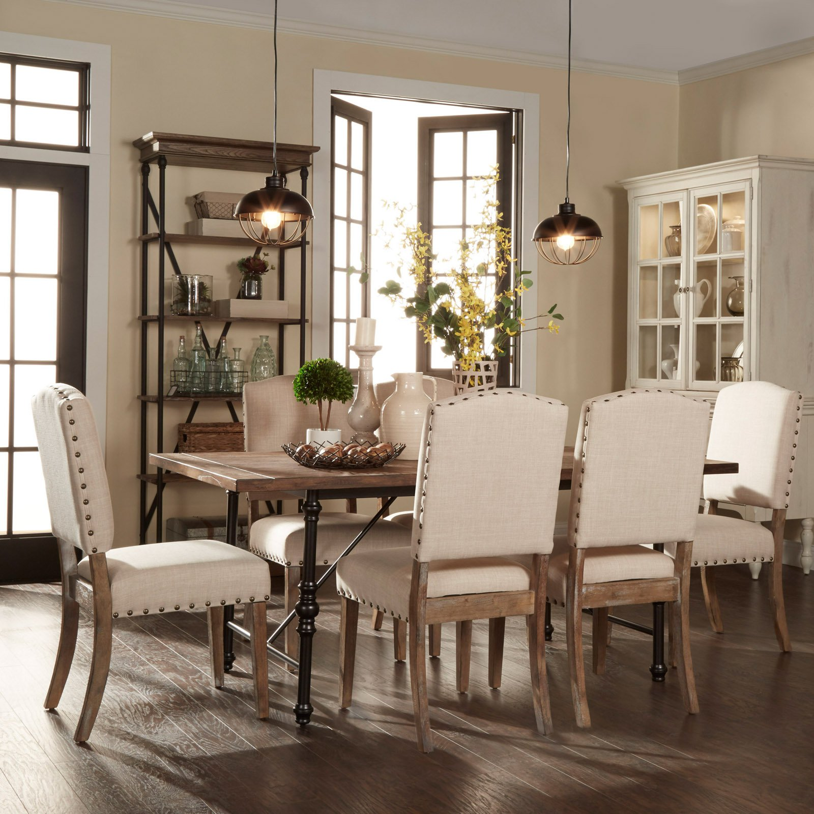Weston Home 7 Piece Industrial Dining Set With Beige Chairs