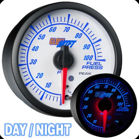- GlowShift White Elite 10 Color 100psi Fuel Pressure Gauge