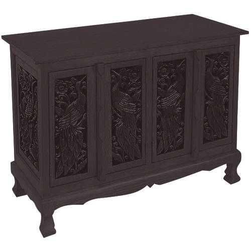 AsiaEXP Handcarved Acacia Wood Four-Door Storage Cabinet/Sideboard Buffet, Intricate Peacock Design