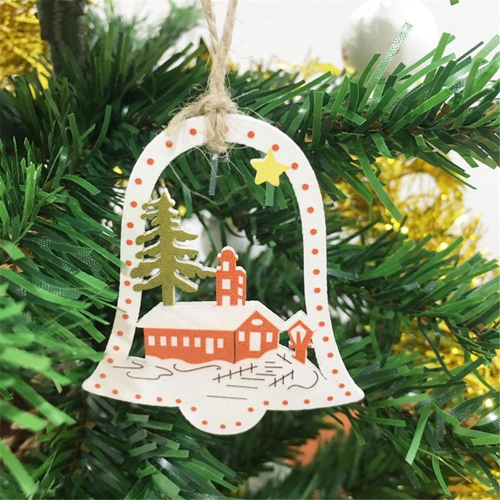 Children Christmas Tree Decorations.10pcs Diy Cartoon Craft Christmas Xmas Wood Chip Hanging Ornaments Decor