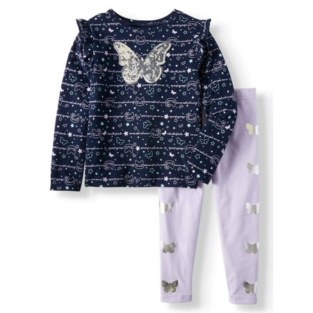 Girls' Long Sleeve Print Ruffle Tee & Shimmer Leggings, 2pc Outfit Set