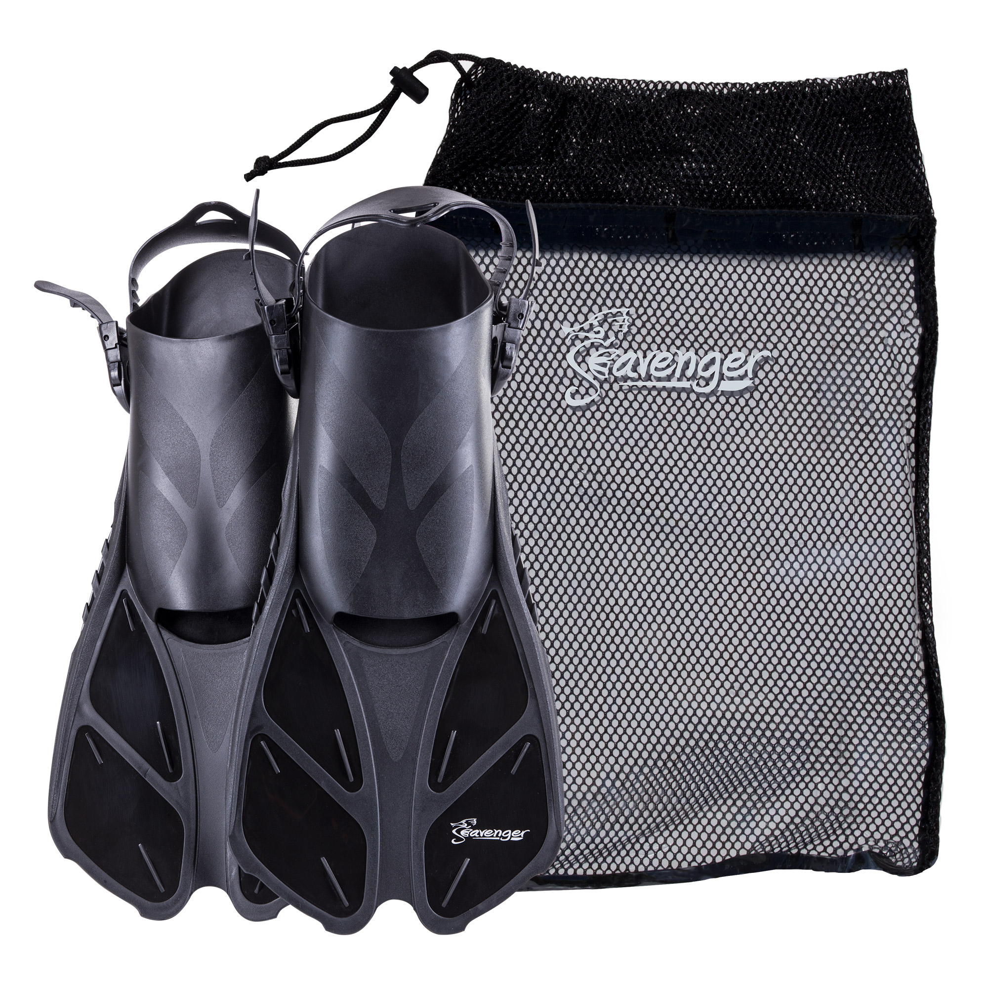 Seavenger Swim Fins   Flippers with Gear Bag for Snorkeling & Diving, Perfect for Travel Black L XL by