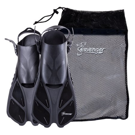 Seavenger Swim Fins / Flippers with Gear Bag for Snorkeling & Diving, Perfect for Travel Black L/XL ()