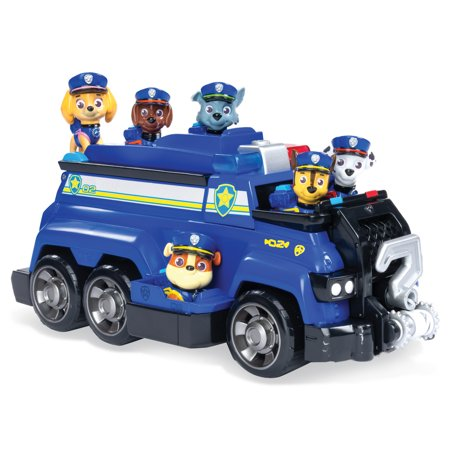 PAW Patrol, Chase's Total Team Rescue Police Cruiser Vehicle with 6 Pups, for Kids Aged 3 and up