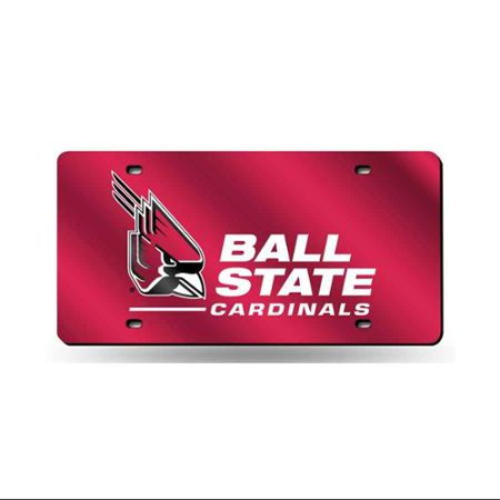 Red Laser License Plate (Ball State Cardinals NCAA Red Mirrored Laser Cut License Plate Laser)