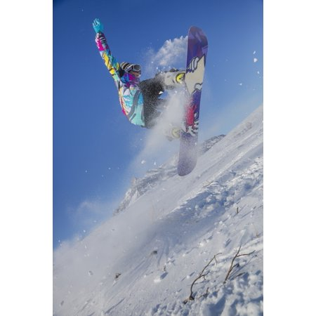 Native Alaskan youth snowboarding in Anaktuvuk Pass Gates of the Arctic National Park Brooks Range Arctic Alaska Poster Print by Kevin G Smith  Design (Best Snowboarding In Alaska)