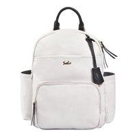 SoHo Backpack Diaper Bag, Jackson Vegan Leather, White, 3 Piece Set
