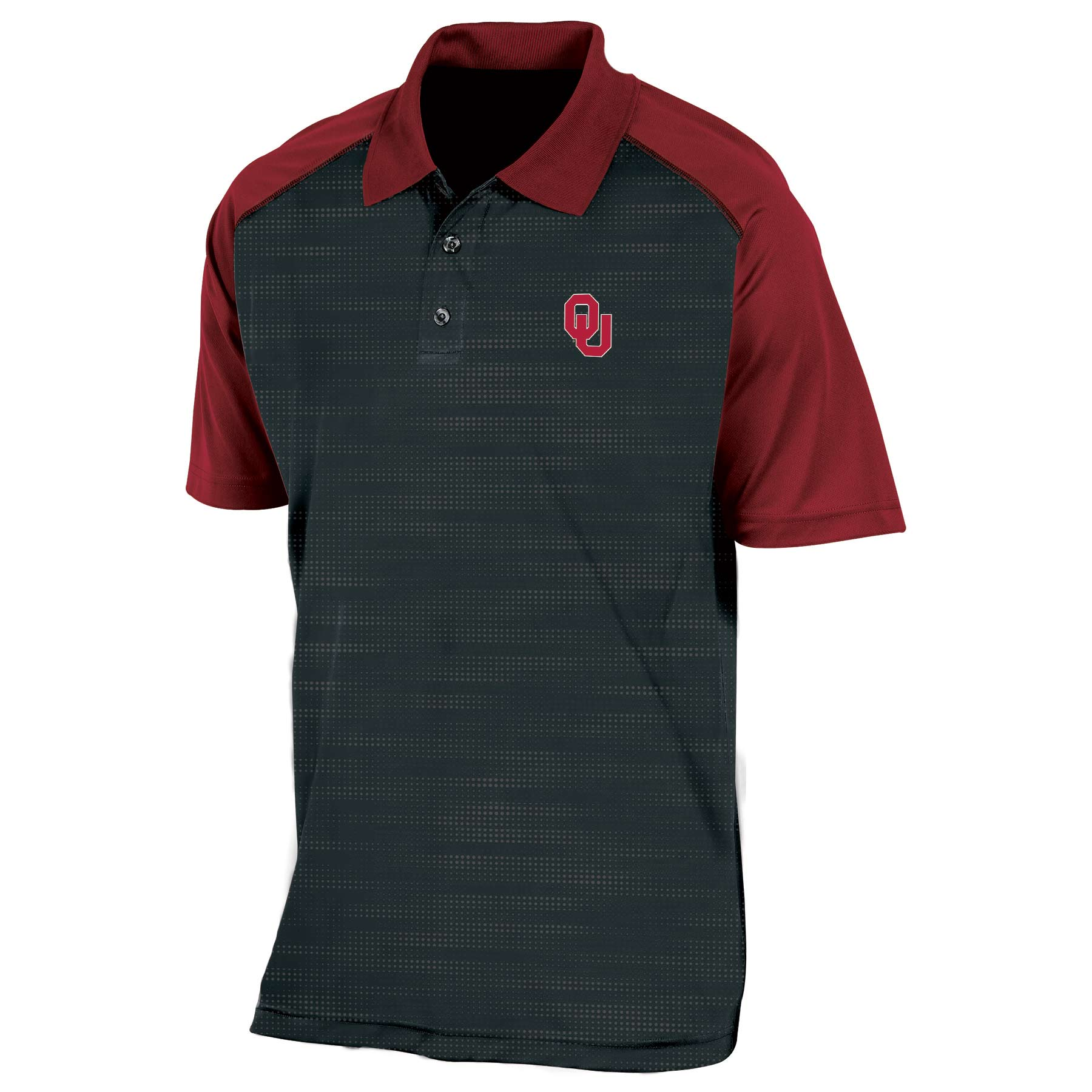 Men/'s Russell Crimson Oklahoma Sooners Classic Fit Striped Synthetic Polo