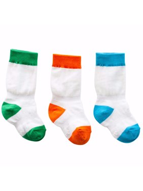 Cheski Baby Knee Socks stay put on baby's kicking legs 0-6 months ~ 3 Pack (Blue/Green/Orange)