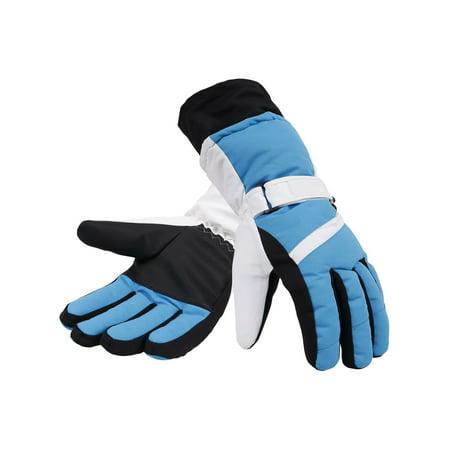 White Mens Water Ski (Mens Thinsulate Lined Winter Waterproof Ski Gloves,Blue White Black,M )
