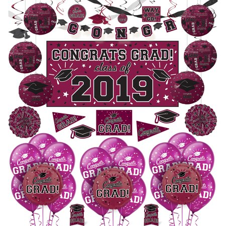 Party City Congrats Grad Graduation Deluxe Decorating Kit, Includes a Banner, Streamers, and Swirls](Party City 20 Coupon)