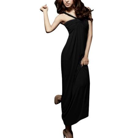 Allegra K Women's Sleeveless Deep V Neck Ruched Top Elastic Back Long Dress (Size XS / 2)