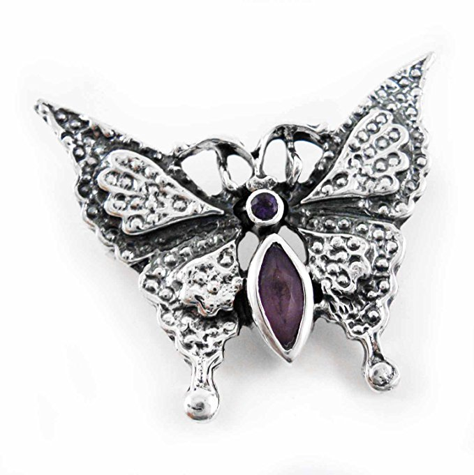 Sterling Silver Crystal Butterfly Pin, Purple by