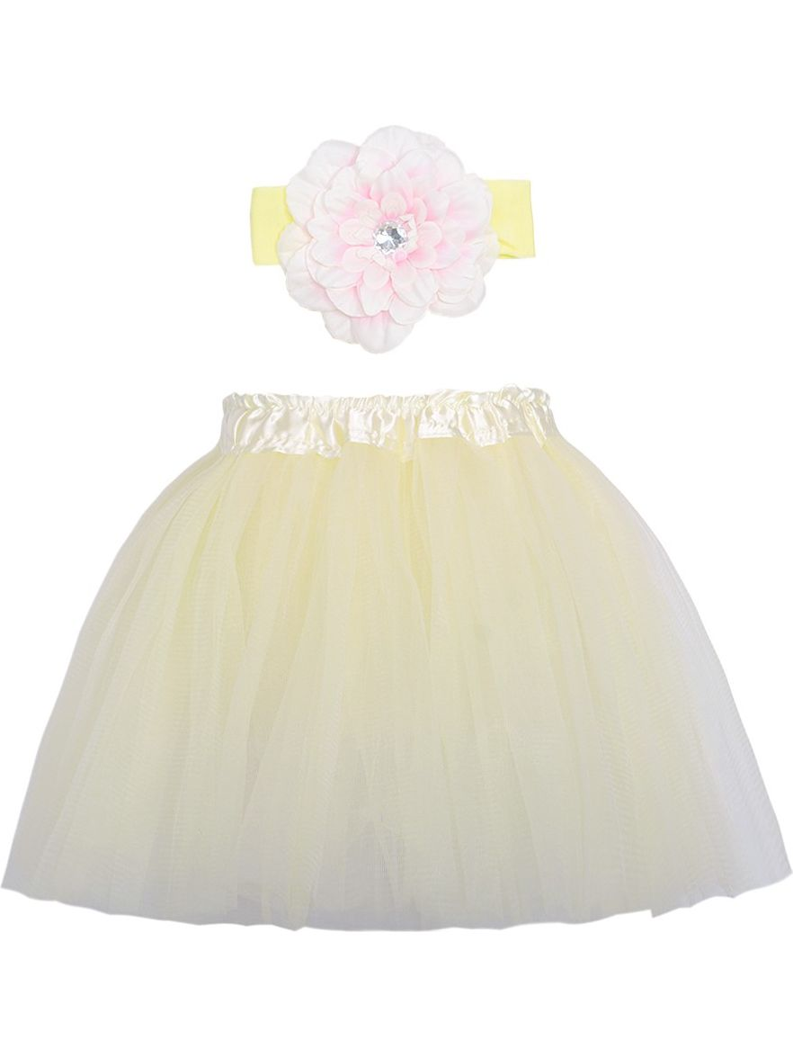 Cute Ivory Pink Dance Tutu Skirt Flower Headband Set Ages 3-8