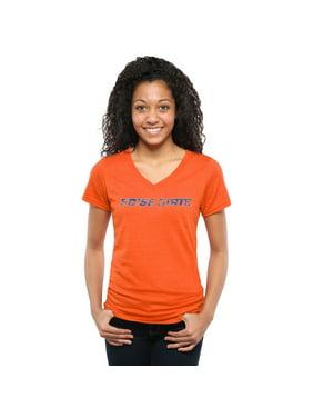 Boise State Broncos Women's Classic Wordmark Tri-Blend V-Neck T-Shirt - Orange