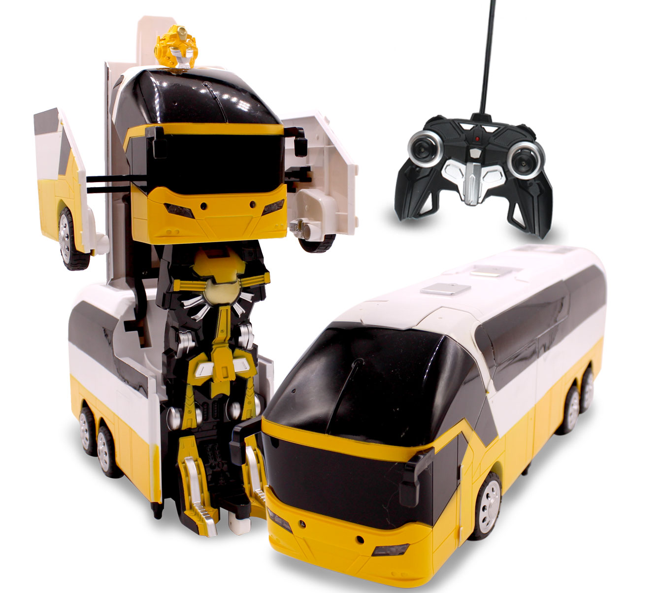 Kids RC Toy Transforming Robot Remote Control Bus 1/10 Scale Toys For Boys