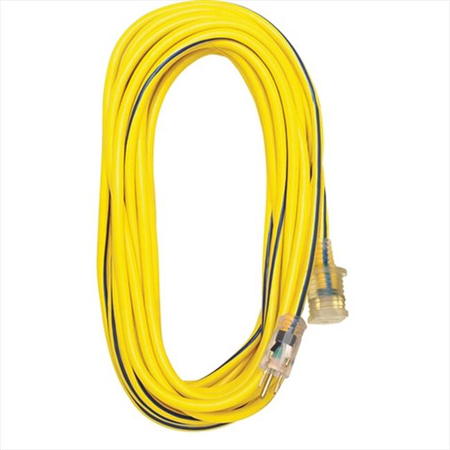 Voltec 05-00365 50 ft.  SJTW Outdoor Extension Cord With Lighted End - Yellow-Blue, Case Of 4