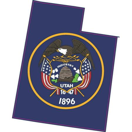 4.5in x 3.5in Die Cut Utah State Flag Sticker Car Truck Vehicle Bumper Decal