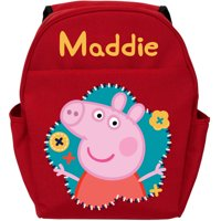 Personalized Peppa Pig Flower Fun Red Toddler Backpack