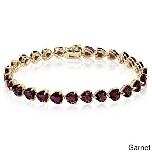 Dolce Giavonna  Goldplated Sterling Silver Gemstone Heart Tennis Style Bracelet