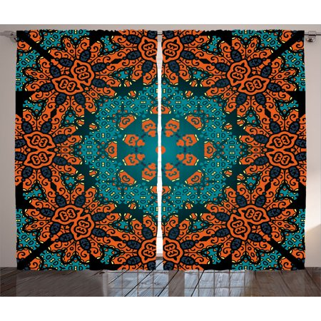 Psychedelic Curtains 2 Panels Set, Round Flowers Florals with Psychedelic Motif Boho Hippie Decorations Image, Window Drapes for Living Room Bedroom, 108W X 90L Inches, Teal Orange, by Ambesonne