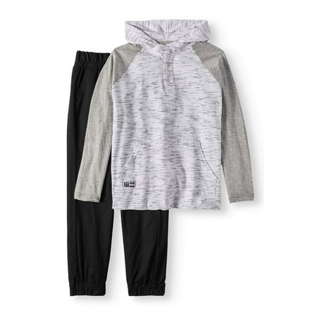 Beverley Hills Polo Club Hooded Henley And Twill Jogger 2 Piece Set (Little Boys & Big Boys)