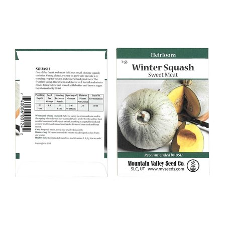 Sweet Meat Winter Squash Garden Seeds - 5 g Packet - Heirloom, Non-GMO - Vegetable Gardening Seed by Mountain Valley