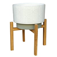 Better Homes & Gardens 11in Kennewick Ceramic Planter With Stand, Ivory