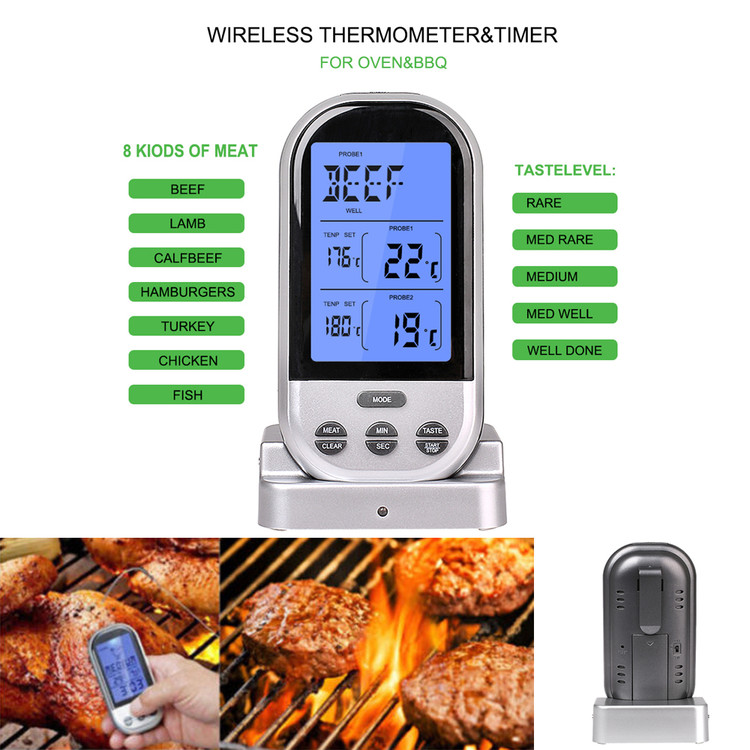 Wireless Remote Kitchen Cooking BBQ Food Meat Dual Probe Digital Thermometer