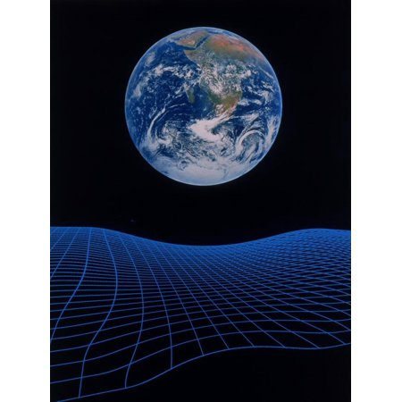 Earth Floating Above a Grid Print Wall Art By Ron Russell