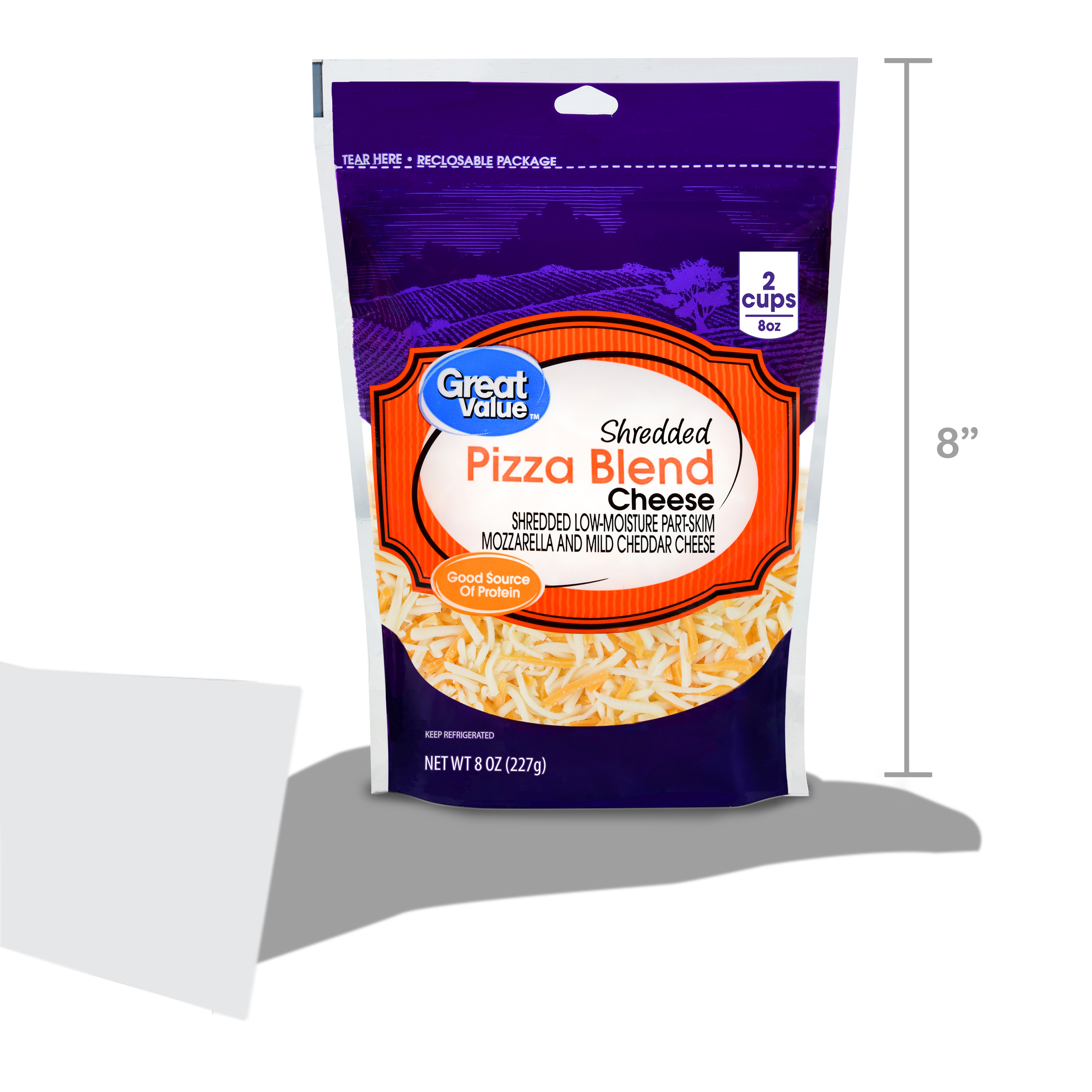 Great Value Shredded Pizza Blend Cheese 8 oz Walmart