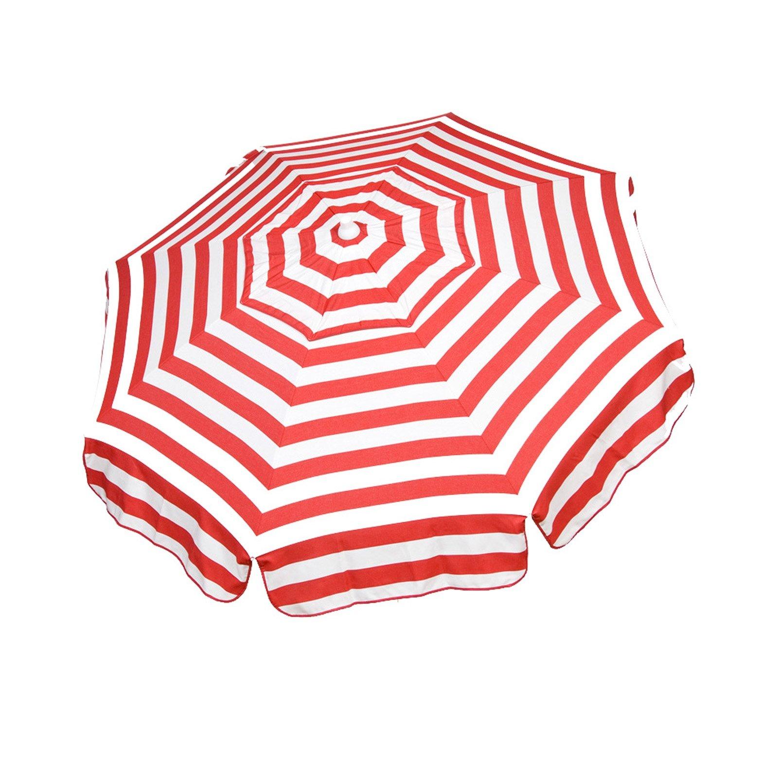 Italian 6 foot Umbrella Acrylic Stripes Red and White Beach Pole 2 Pack Set