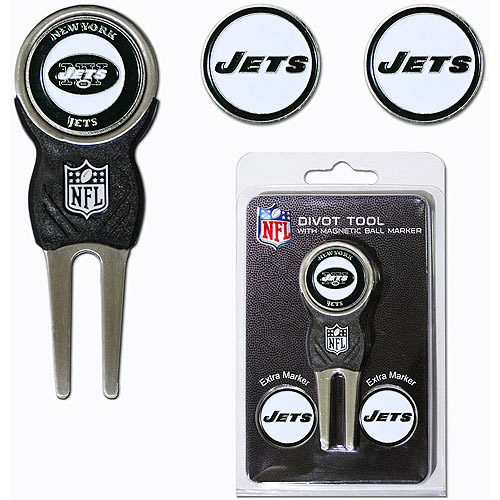 Team Golf NFL New York Jets Divot Tool Pack With 3 Golf Ball Markers
