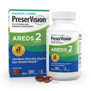 PreserVision® AREDS 2 Formula + Multivitamin, Eye Vitamin and Mineral Supplement with Lutein & Zeaxanthin–From Bausch + Lomb, 120 Soft Gels (MiniGels)