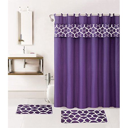Home fashion geometric 15 piece bathroom set shower for Fashion bathroom set